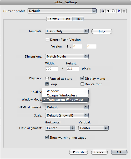 Transparent SWF settings