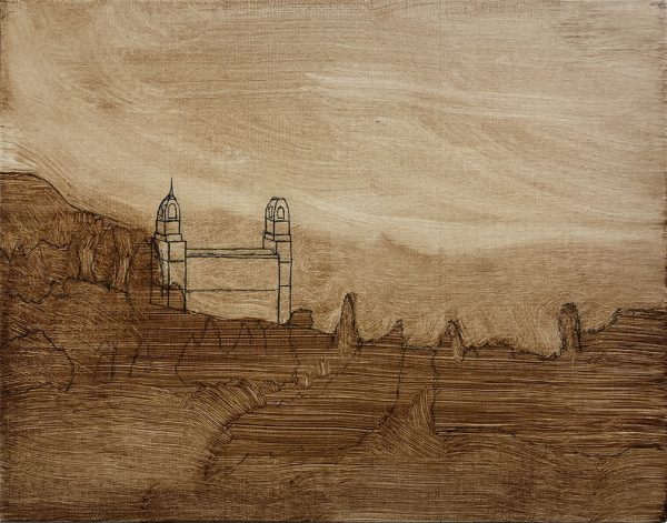 Manti Temple sketch with imprimatura layer