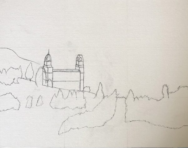 Manti Temple sketched on canvas board