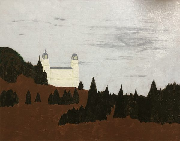 Manti Temple painting with first ground layer