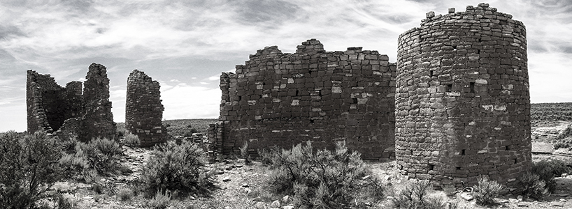Black and white photograph of Hovenweep National Monument in Colorado, taken by K. Bradley Washburn