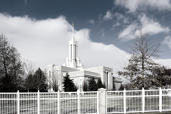 Mount Timpanogos Temple in December - Black and white photograph taken by K. Bradley Washburn