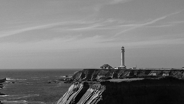 Black and white photograph of the Point Arena lighthouse in California taken, by K. Bradley Washburn