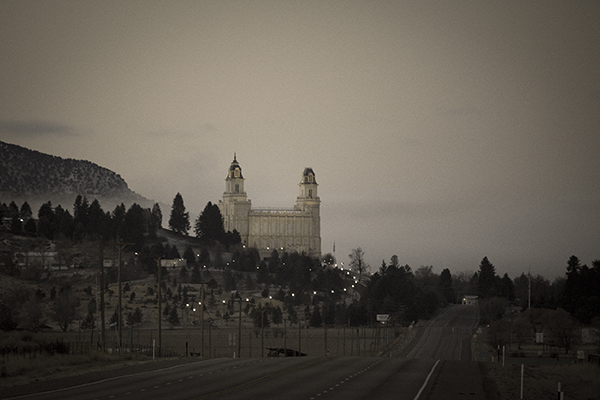 Temple on the Hill - Black and white photograph of the Manti Utah Temple taken by K. Bradley Washburn